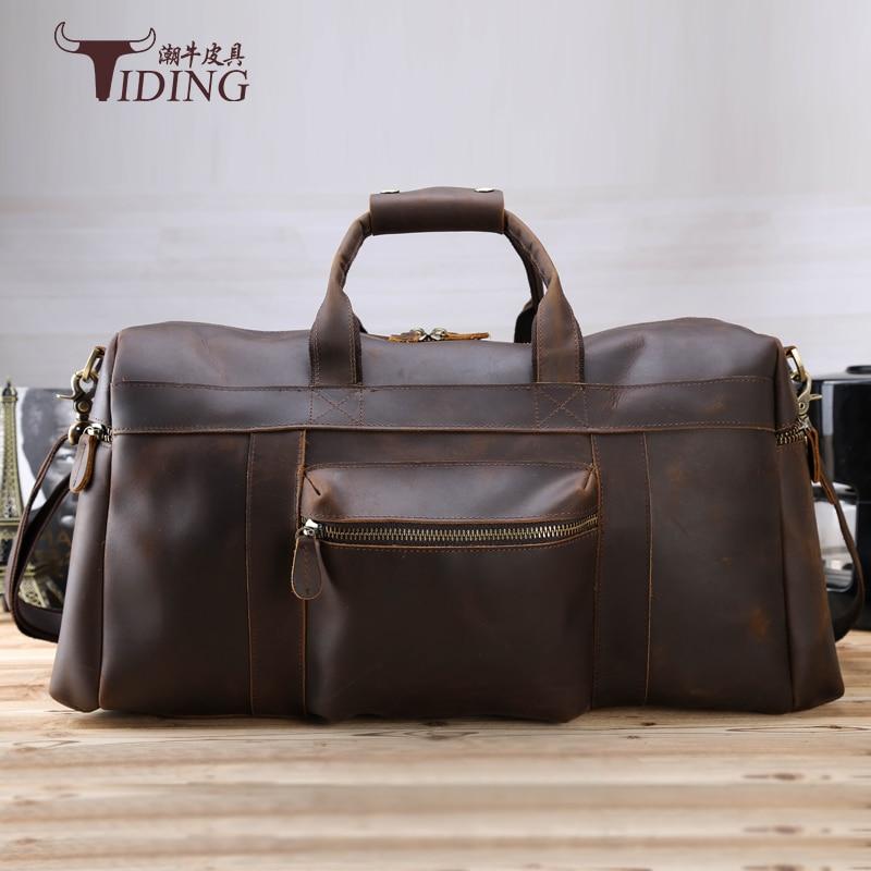 Man Travel Bags Cow Leather 2017 New Man Vintage Fashion Brand Casual Big Brown Travel Duffle Bag Genuine Leather Male Handbags