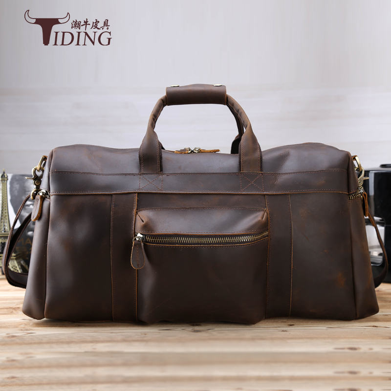 man travel bags cow leather 2017 new man vintage fashion brand casual big brown travel duffle bag genuine leather male handbags