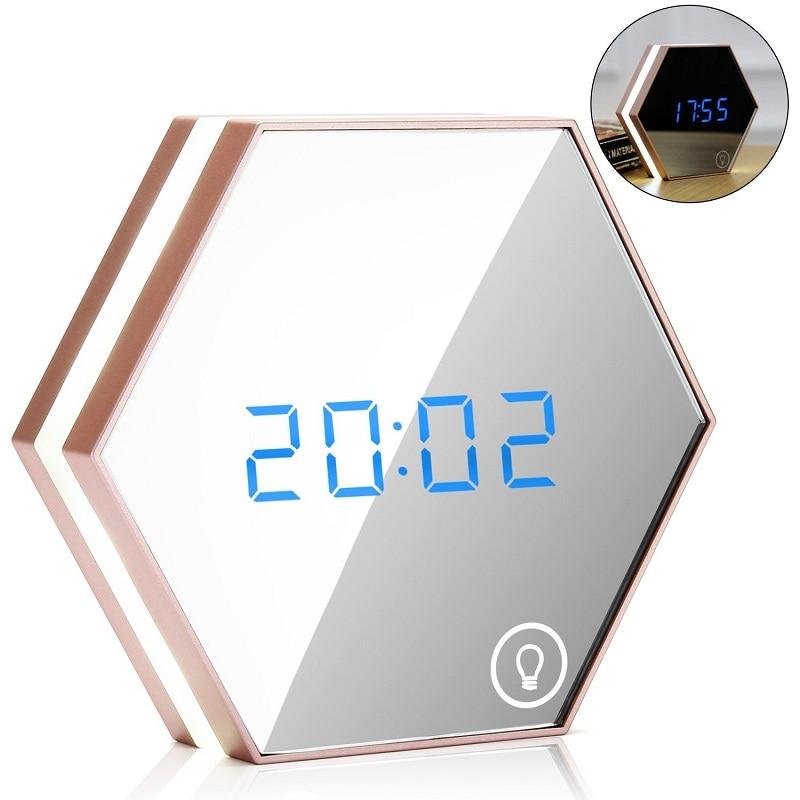 Digital Touch Sensing Alarm Clock Mirror Backlight Calendar Multifunction