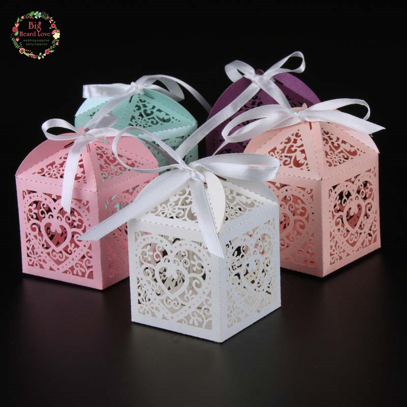 Party Favours Weddings: 2017 New 50pcs Love Heart Candy Box Wedding Box Wedding