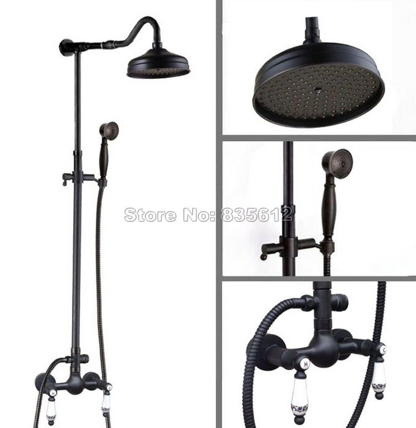 Wall Mount Black Oil Rubbed Bronze Bathroom Rain Shower Faucet Set Dual Ceramic Handles Mixer tap with 8 inch Shower Head Wrs814