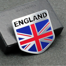 3D aluminum ENGLAND letter Emblem Badge Decal Car sticker British flag union jack nation car-styling For subaru Volvo ford skoda