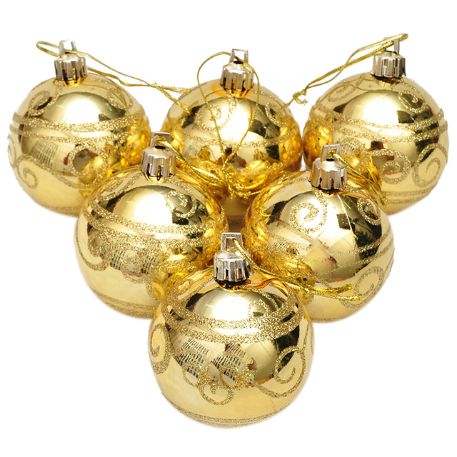 6pcs Christmas Tree Balls Diameter 6cm Gold Stamping Color Drawing Decorations Ball Xmas Party Wedding Ornament