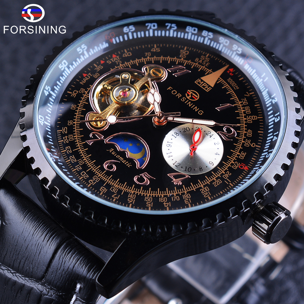 Forsining Tourbillion Moonphase Scale Dial Gear Bezel Design Genuine Leather Strap Mens Watches Top Brand Luxury Automatic Watch купить недорого в Москве
