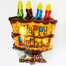 New 48*26cm Happy Birthday Mini Chocolate Cake Foil  balloons Children Gift Helium Balloofun Birthday Party Decoration