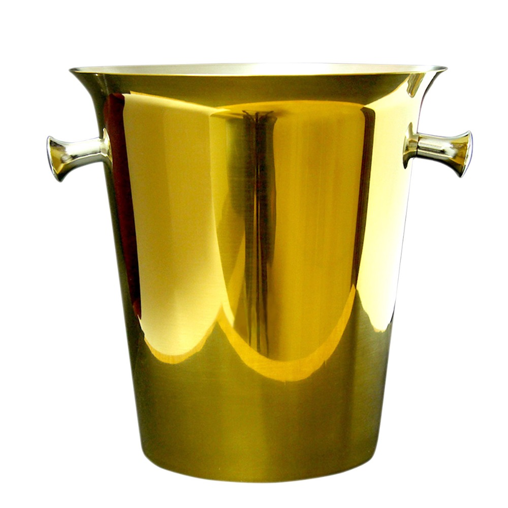 Placcato oro 5L di Birra In Acciaio Inox Secchiello per il Ghiaccio Con Pinzette Champagne Barile di Raffreddamento di Vino del Cubo di Ghiaccio Coperchio Bar, Utensili e Accessori Forniture