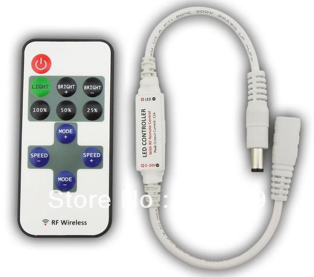R106-D;Mini led RF dimmer,DC5-24V input,12A/288W output,with DC connector,plug and play