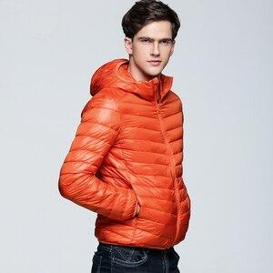Image 3 - NewBang uzun kaban erkek ultra hafif şişme mont erkek kışlık ceketler hafif ceketler kapüşonlu Parka rüzgarlık tüy Parka