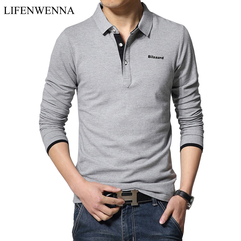 New Fashion Men's Polos Long Sleeve Solid Casual Polo Mens Clothing Trend Letter Decoration Slim Polos Shirts Plus Size M-5XL