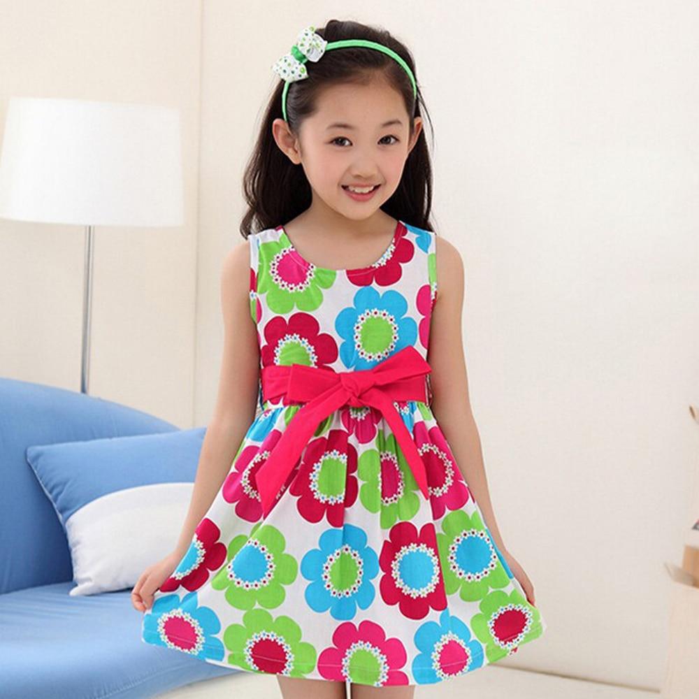 2017 Hot Flower Girls Casual Dresses Kids Girl Floral ...