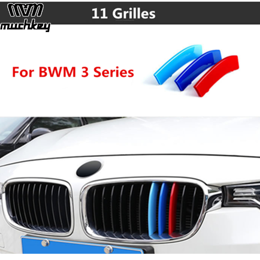 3D M Car Front Grille Trim Strips Grill Motorsport Cover Sticker for BMW 3 Series 2013 to 2018 3 Series F30 F31 F35 11 Grilles grille