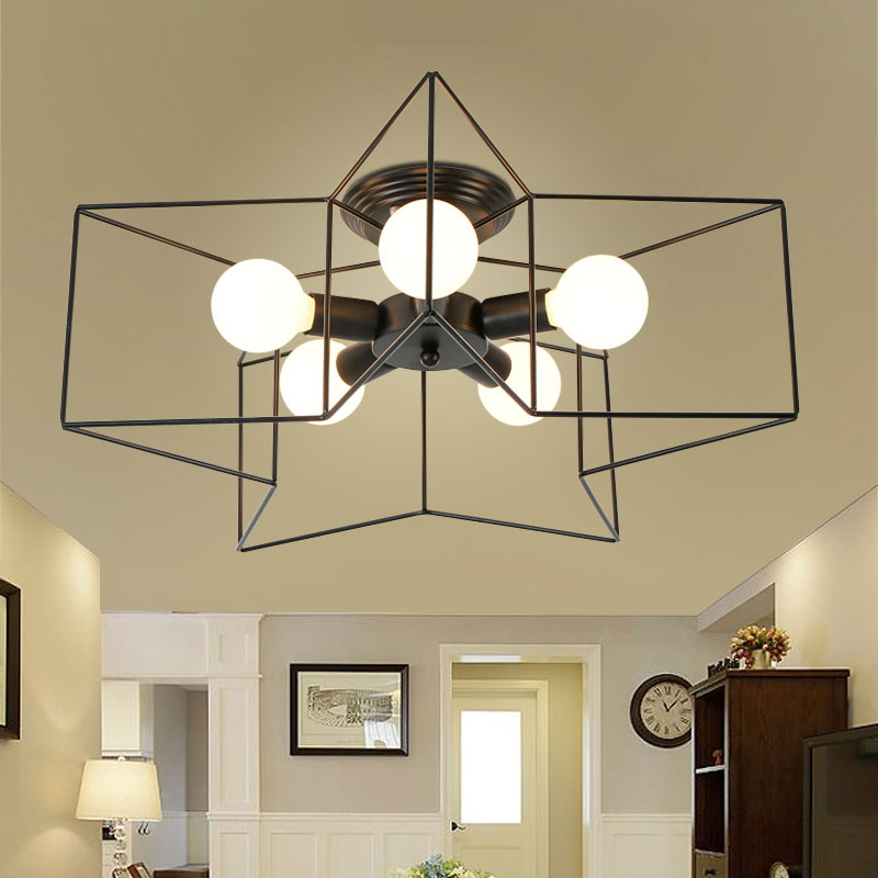 Minimalist creative personality iron ceiling lamps children bedroom living room pentagram vintage retro iron ceiling lamps