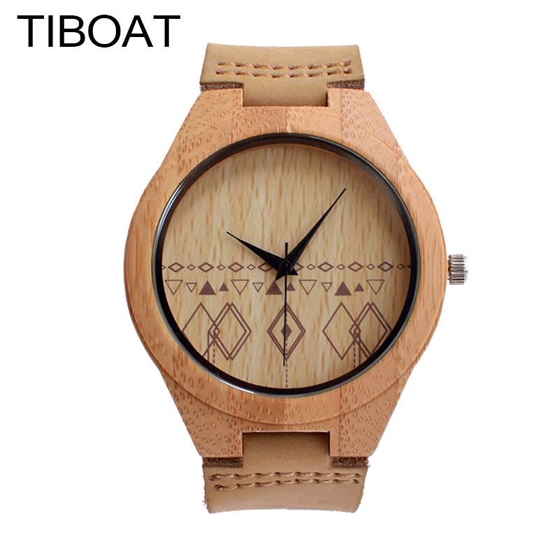 TIBOAT Original Bamboo Handmade Bamboo Wooden Watch For Women Made With Genuine Leather Strap Quartz Watch Men For Gift new 100% handmade head deer elk dial design mens bamboo wood quartz watch with real leather strap for gift relogio masculino