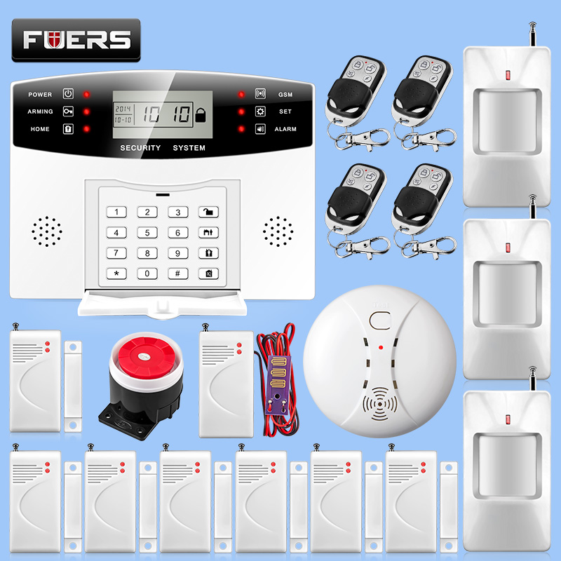 Smart Home GSM SMS Security Alarm System Wireless 433MHz Sensors Detector Alarm Kit Russian/English Voice Prompt