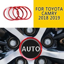 Red Blue Aluminium Alloy Wheel Center Hub Ring Trim For Toyota Camry 2018 2019 4Pcs Auto Replacement Wheels Tires Part Stickers(China)