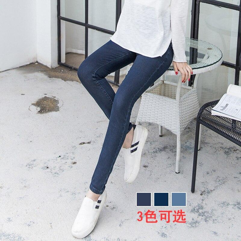 2017 Winter thick warm fleece Elastic Waist 100% Cotton Maternity Jeans Pants For Pregnancy Clothes For Pregnant Women Legging