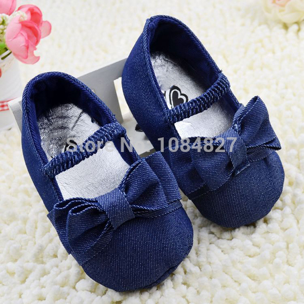 NewInfant Baby Girl Soft Sole Sko Toddler Bowknot Crib Sko Denim PrewalkerFree &
