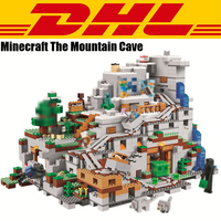 2018 New 2932Pcs Minecrafted Figures The Mountain Cave Model Building Kits Blocks Bricks Toy For Children