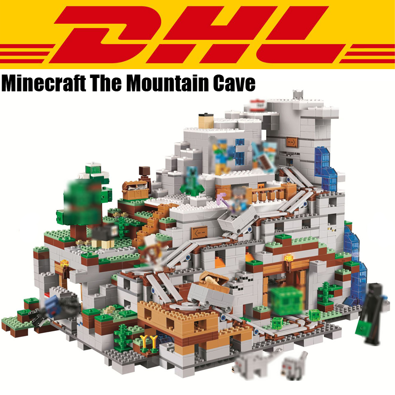 2018 New 2932Pcs Minecrafted Figures The Mountain Cave Model Building Kits Blocks Bricks Toy For Children Gift Compatible 21137 dhl lepin 18032 2932 pcs the mountain cave my worlds model building kit blocks bricks children toys clone21137 in stock