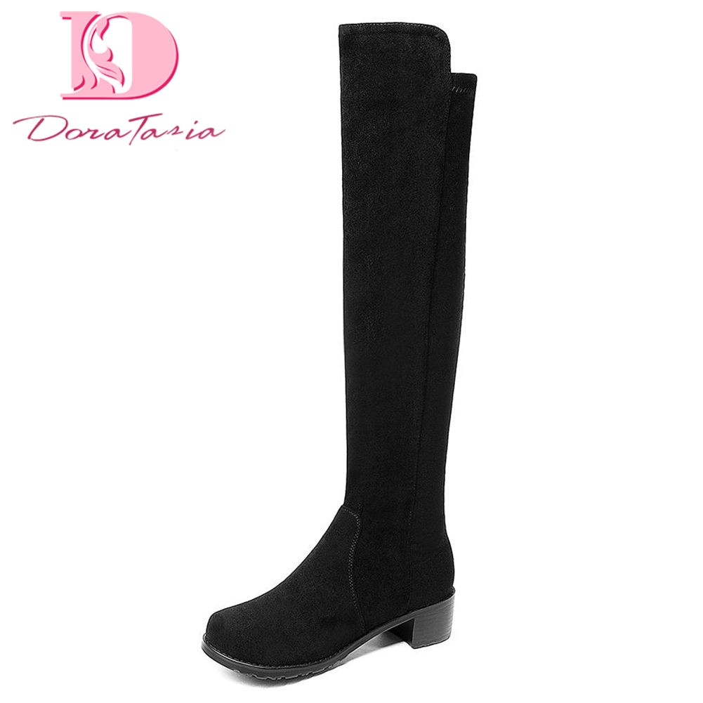 DoraTasia 2018 brand Large Size 34-43 Add Fur Knee High Boots Woman Shoes Woman Slip On Square Heels Winter riding Boots karinluna 2018 large size 32 43 slip on chelsea boots casual square heels add fur ankle boots rivets women shoes woman winter