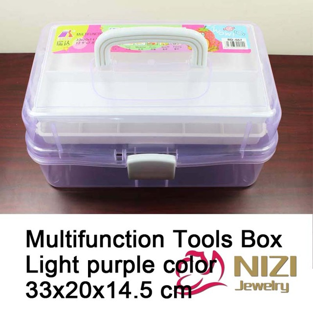 High Quality Multifunction Tool Box Light Purple 3 Layers For Nail Art Tool Case Storage Box Great For Painting Fishing Tool