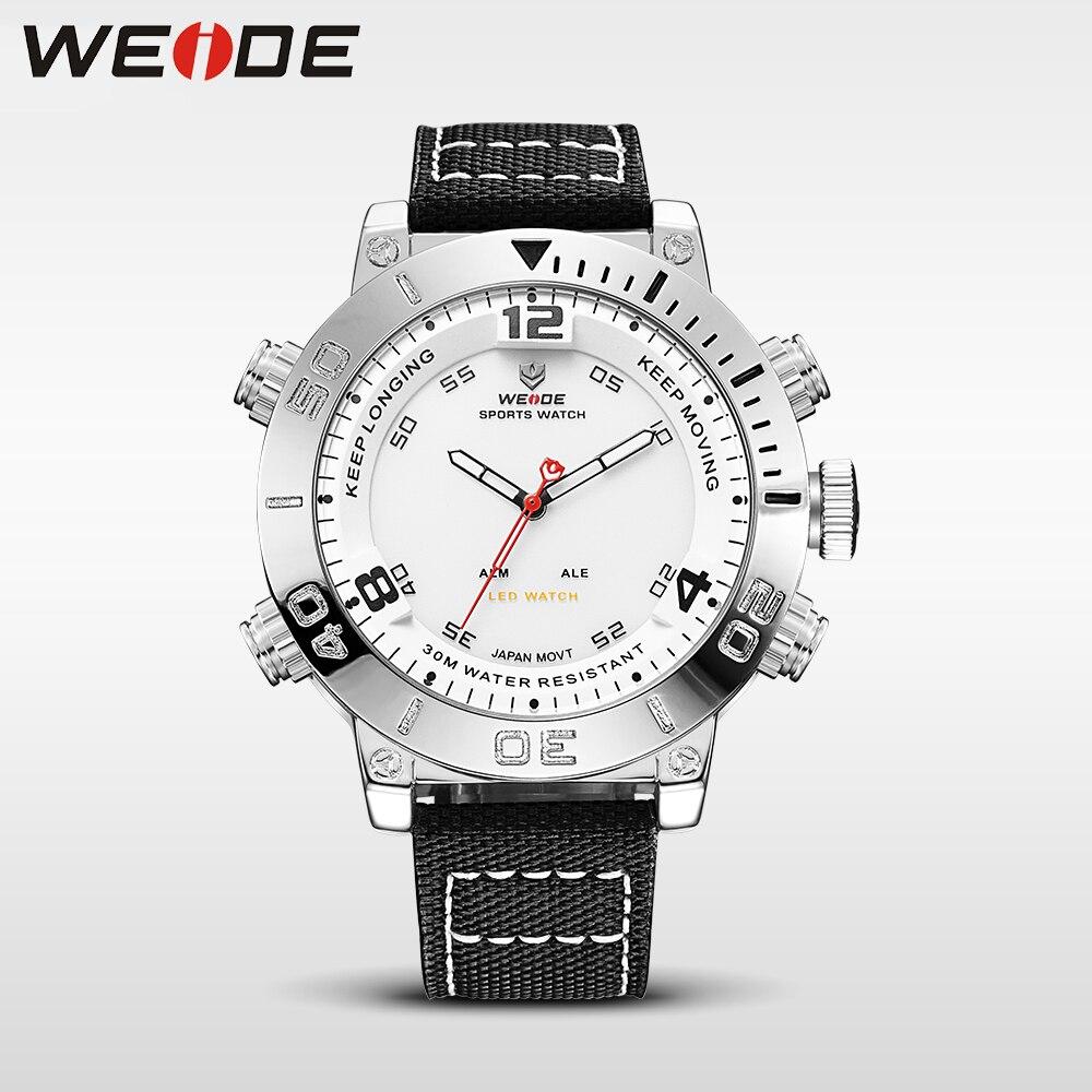 WEIDE Men Luxury Quartz Sport Analog Digital Nylon Strap Watch Fashion Chronograph Auto Date White Dial Alarm Clock Reloj Hombre