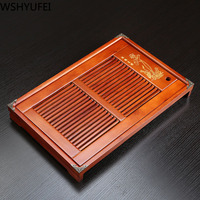 Chinese traditional drawer type red solid wood tea tray Drainage storage water Dual use Household Kung Fu tea set tray WSHYUFEI