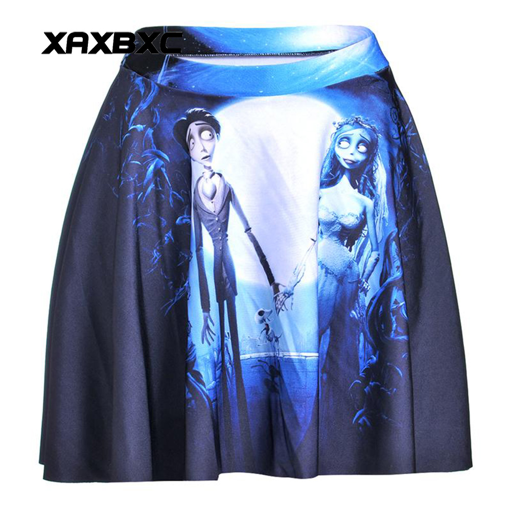 NEW 1162 Summer Sexy Girl Cartoon Corpse Bride zombie Skull Cheering Squad Tutu Skater Women Mini Pleated Skirt Plus Size