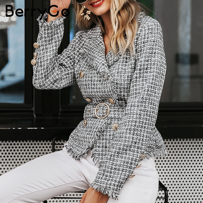 BerryGo V-neck Double Plaid Tassel Tweed Women Blazer Coat Breasted Button Belt Ladies Coats Long Sleeve Outwear Coat Jacket