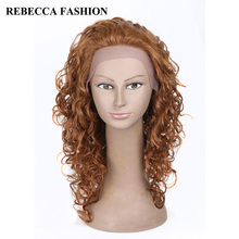 Rebecca Remy Long Curly Lace Front  Human Hair Wigs For Black Women Medium Brown Wigs Brazilian Curly Hair African American Wig