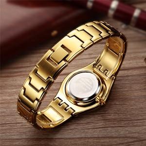 Image 5 - WEIQIN الفاخرة العلامة التجارية الذهبية ساعات النساء أزياء رقيقة جدا ساعة كوارتز امرأة أنيقة فستان السيدات ساعة Montre فام