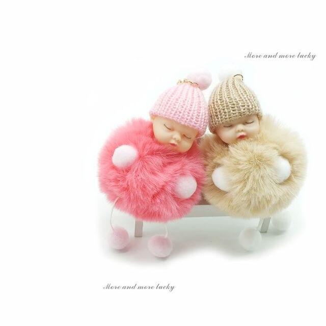 Moda Bola De Pêlo Chaveiro Boneca Bebê Dormindo Boneca de Pé e Mão Pompom Pele De Coelho Chaveiro Chaveiro Titular da Chave Do Carro charme Jóias