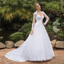 Custom Made Wedding Dress 2019 New Fashion A-line Long Sleeve Tulle Lace Bride Dresses Vestido de Noiva Wedding Gowns