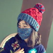 Мода Толстые Теплые Зимние Шапочки Ручной Работы с Маска Вязанная шапочка Caps