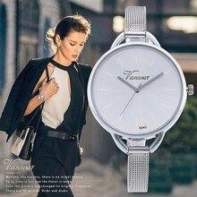 Vansvar Brand New Fashion Colorful Dial Silver Mesh Band Stainless Steel Quartz Watches Women Wristwatches Relogio Feminino