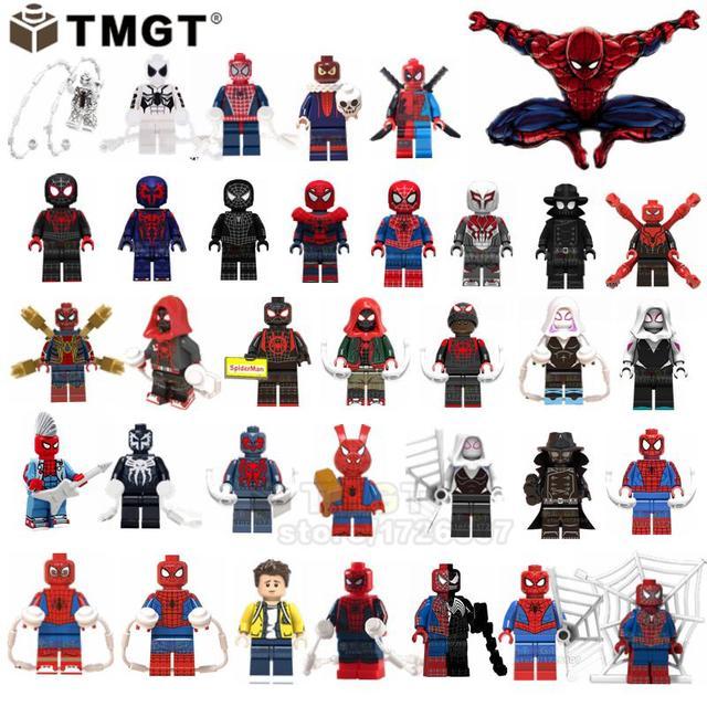 Single Sale Spiderman Miles Morales Ultimate Spider Man Noir Spider-Ham Gwen Building Blocks Toys Gifts For Children