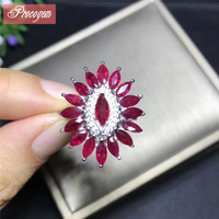 Natural Ruby rings for women 2.5X3mmX16pcs Luxurious for Party wedding Genuine Gemstone 925 Sterling silver fine Jewelry #181009