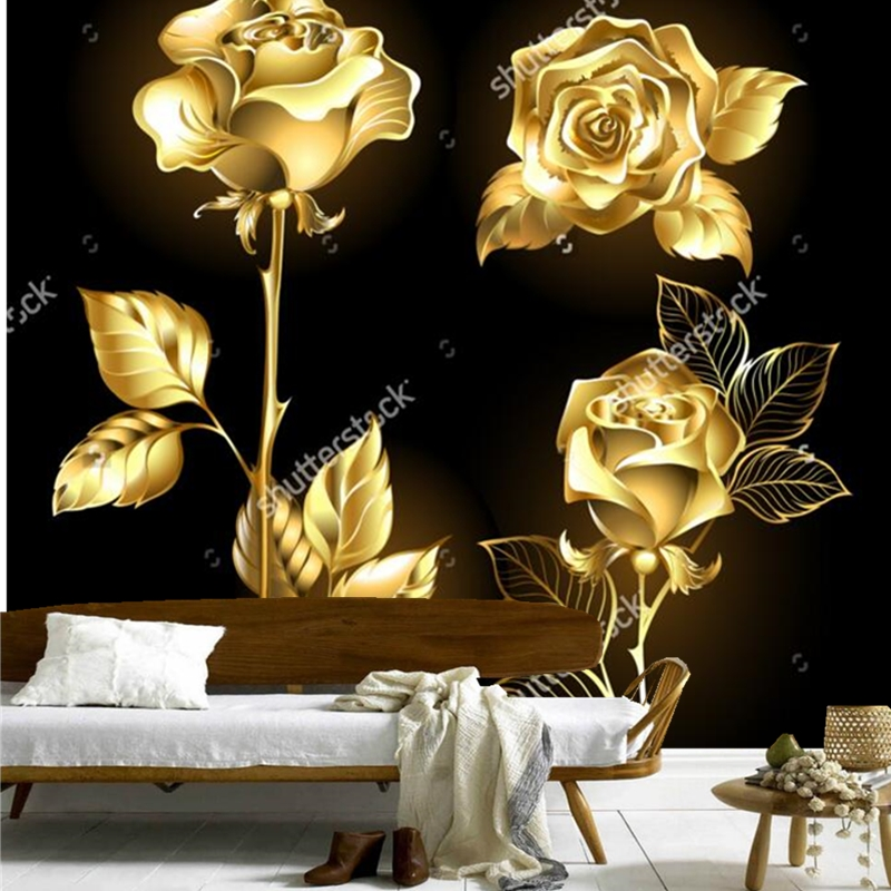 Rose wallpaper,Set of gold, shining roses ,retro pattern for the living room bedroom restaurant background wall vinyl wallpaper dimensions wreath of roses