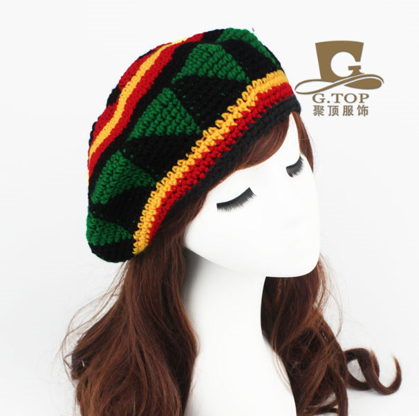 Mode Unisex Rasta baskenmütze hut Jameican kostüme hut Winter Warme ...