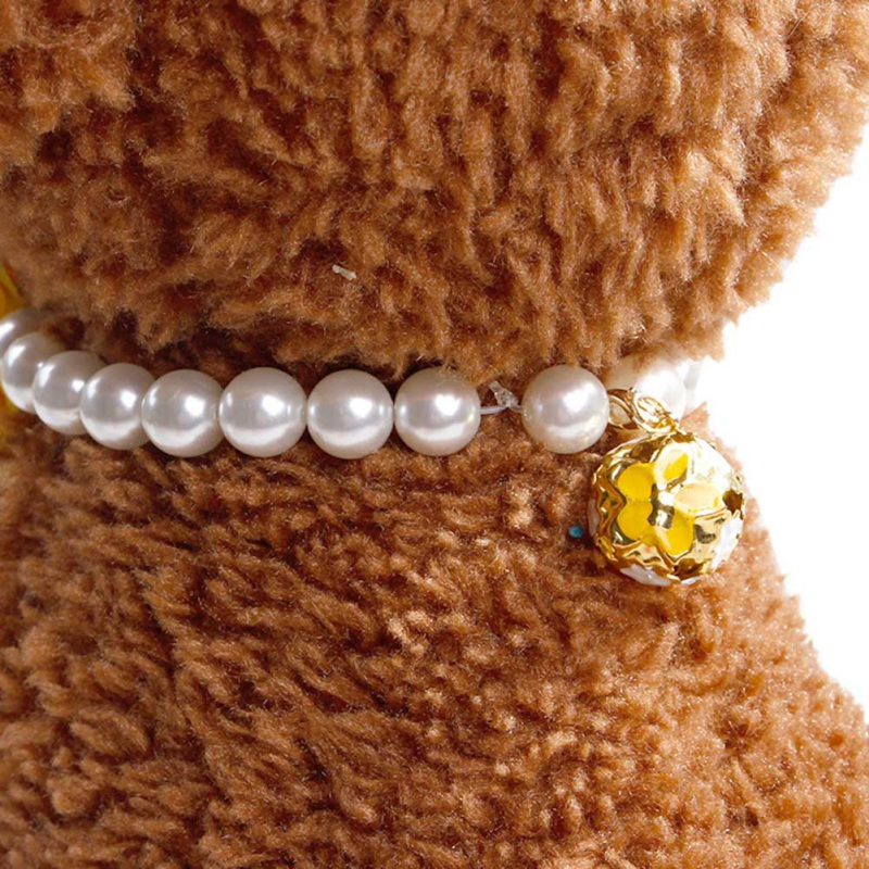 Pet Small Dog Cat Necklace Jewelry Beautiful Elastic Pearl Flower Stretch Collar Pet Products Collars Harnesses Leads cachorro
