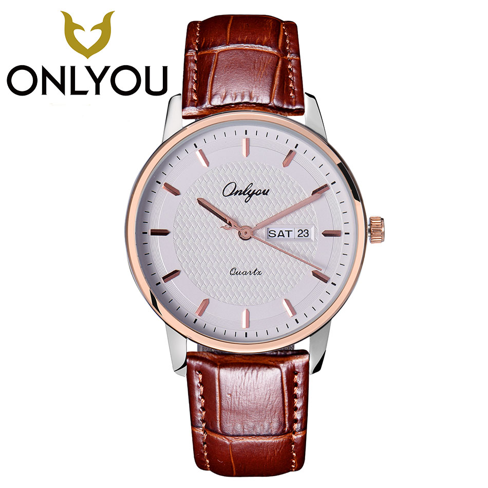 ONLYOU Lovers Watch Fashion Design Couple Dress Wristwatch Casual Leather Waterproof Watches Male Women Sport Clock Watch Men onlyou men s watch women unique fashion leisure quartz watches band brown watch male clock ladies dress wristwatch black men