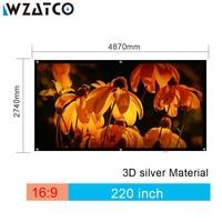WZATCO Экран большой Размеры 220 дюймов 16:9 быстро раза Экран 3D серебро Кино проецирования Экран ткань легко двигаться с черным границы