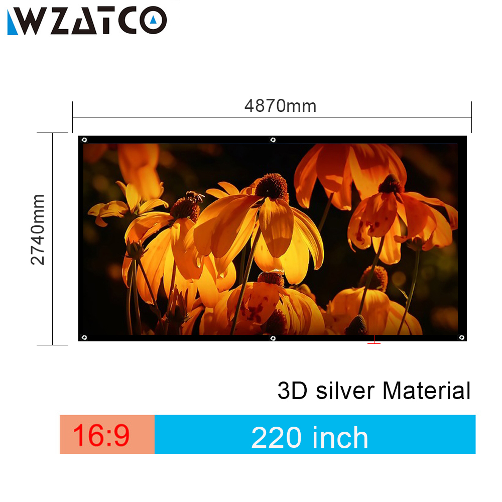 WZATCO Screen Large Size 220 inch 16:9 Fast Fold Screen 3D Silver Cinema Projection Screen Fabric easy move with Black Border nadin зимняя сказка чай черный листовой 50 г