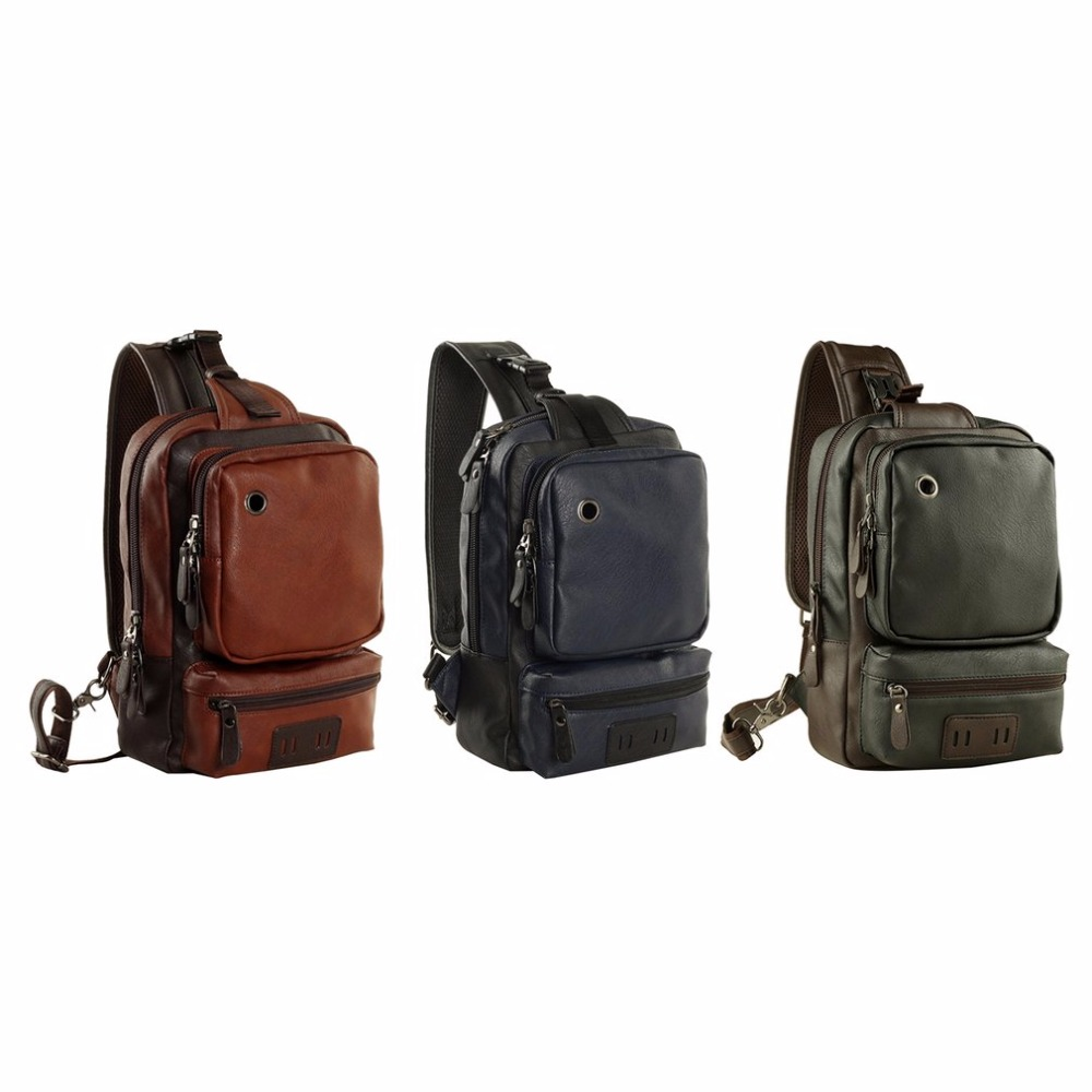 5fe32aa6ee Trendy Men PU Leather Satchel Bag Chest Bag Casual Crossbody Bag Cool  Single Shoulder Bag Male-in Waist Packs from Luggage   Bags on  Aliexpress.com ...
