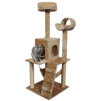 52 Comfortable Fabrics Cat Tree Climbing Condo Post Pet House Natural Sisal Rope Covering The Cat Post Two Top Perches PS5187BE