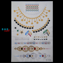 2017 Time-limited Rushed Jewelry Gold Flash Inspired Metallic Temporary Tattoos Bracelets Necklaces Stickers Tattoo