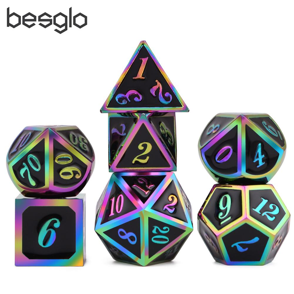 New Black & Rainbow Number Metal Polyhedral Dice With Black Dice Bag For DnD RPG MTG And Other Board Games D4 D6 D8 D10 D% D12 D