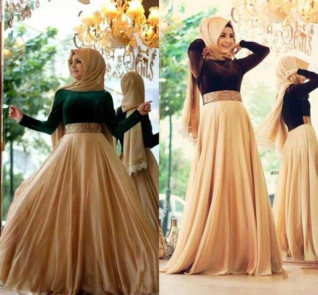 084301ffb0bc3 Hijab Style Evening Dresses High Neck Long Sleeve A Line Floor Length Robe  De Soiree Beads Chiffon Evening Dress