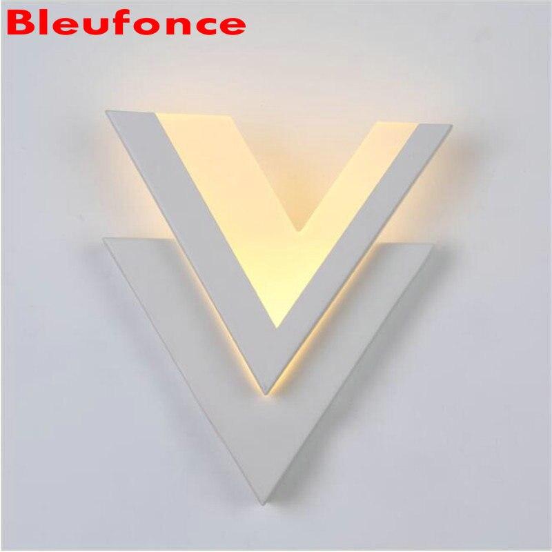 ФОТО Modern V 8W LED Aluminum Acrylic Wall Lamp Living room Bedroom Bedside Lamp Aisle Foyer background Wall Lights NB176