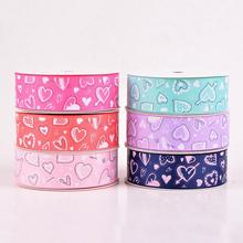 25mm Printed Grosgrain Ribbon With Romantic Love pattern Print for Valentine Day Flower Gift Packing Home Party Deco 10yds/lot